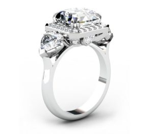 Three Carat Asscher Cut and Heart Shape Diamond Halo Engagement Ring 4 2