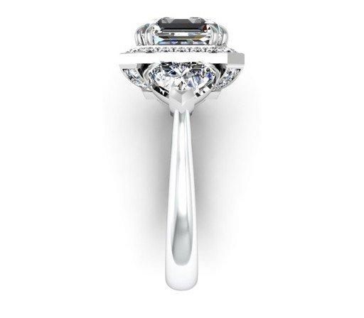 Three Carat Asscher Cut and Heart Shape Diamond Halo Engagement Ring 5 2
