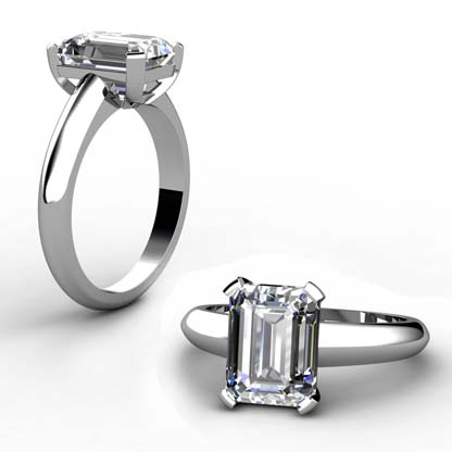 Three Carat Emerald Cut Diamond Solitaire Engagement Ring with Wide Band 1 1