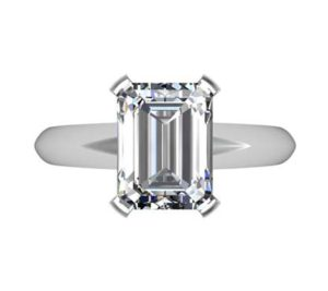 Three Carat Emerald Cut Diamond Solitaire Engagement Ring with Wide Band 2 2
