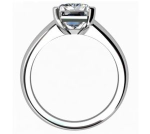 Three Carat Emerald Cut Diamond Solitaire Engagement Ring with Wide Band 3 2
