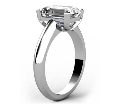 Three Carat Emerald Cut Diamond Solitaire Engagement Ring with Wide Band 4 2