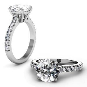 Three Carat Round Brilliant Cut Diamond Solitaire Engagement Ring 1 2 2