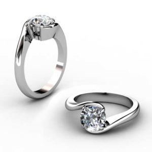 Three Carat Round Diamond Engagement Ring with Twisted Band 1 2