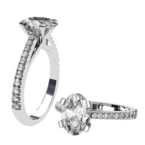 Twisted Claw Oval cut Diamond Solitaire with Diamond Band 1 2