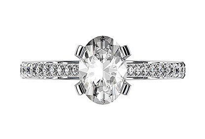 Twisted Claw Oval cut Diamond Solitaire with Diamond Band 2 2