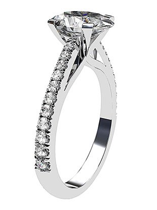 Twisted Claw Oval cut Diamond Solitaire with Diamond Band 3 2