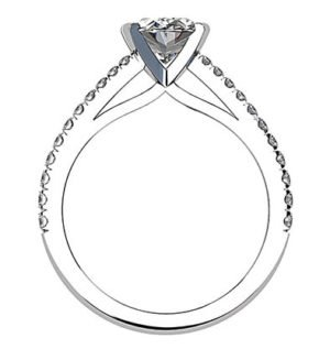 Twisted Claw Oval cut Diamond Solitaire with Diamond Band 4 2