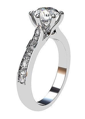 Twisted Six Claw Round Ring with Pave Band 4 2