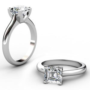 Two Carat Asscher Cut Solitaire Diamond Engagement Ring 1 2