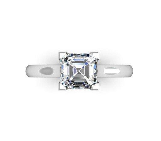 Two Carat Asscher Cut Solitaire Diamond Engagement Ring 2 2