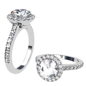 Two Carat Brilliant Cut Round Diamond Halo Engagement Ring 1 2