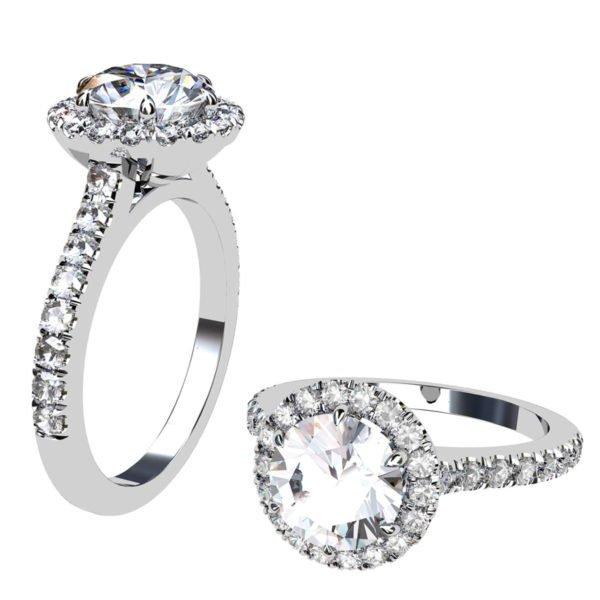 Two Carat Brilliant Cut Round Diamond Halo Engagement Ring 1 2