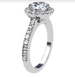 Two Carat Brilliant Cut Round Diamond Halo Engagement Ring 4 2
