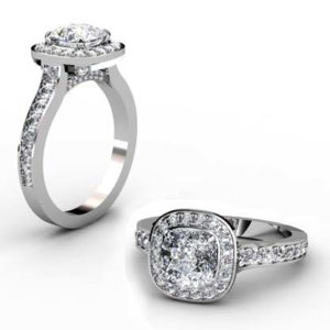 Two Carat Cushion Cut Diamond Halo Engagement Ring with Diamond Studded Basket 1 2