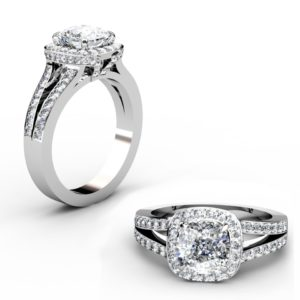 Two Carat Cushion Cut Diamond Halo Engagement Ring with Split Shank Band 1 2