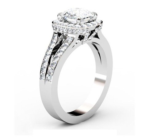 Two Carat Cushion Cut Diamond Halo Engagement Ring with Split Shank Band 4 2