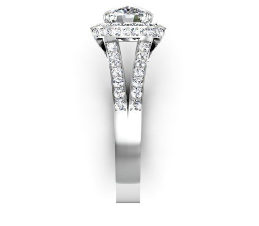 Two Carat Cushion Cut Diamond Halo Engagement Ring with Split Shank Band 5 2