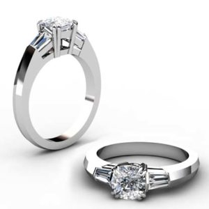 Two Carat Cushion Diamond Three Stone Engagement Ring with Knife s Edge Band 1