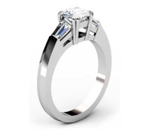 Two Carat Cushion Diamond Three Stone Engagement Ring with Knife s Edge Band 4