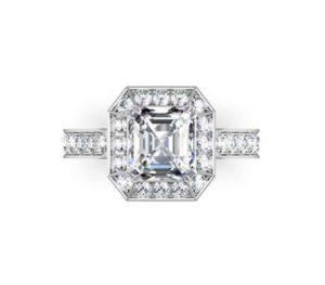 Two Carat Emerald Cut Diamond Halo Engagement Ring 2 2