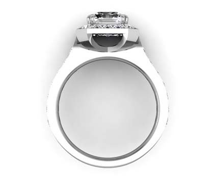 Two Carat Emerald Cut Diamond Halo Engagement Ring 3 2
