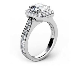 Two Carat Emerald Cut Diamond Halo Engagement Ring 4 2