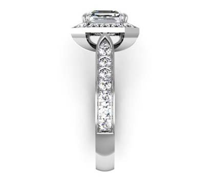 Two Carat Emerald Cut Diamond Halo Engagement Ring 5 2