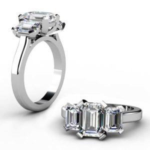 Two Carat Emerald Cut Three Stone Diamond Engagement Ring 1 2
