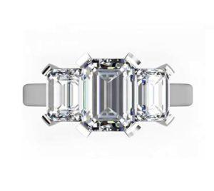 Two Carat Emerald Cut Three Stone Diamond Engagement Ring 2 2