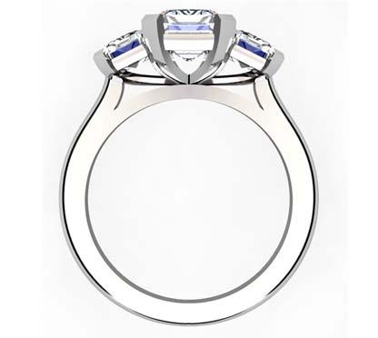 Two Carat Emerald Cut Three Stone Diamond Engagement Ring 3 2