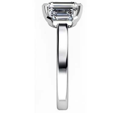 Two Carat Emerald Cut Three Stone Diamond Engagement Ring 5 2