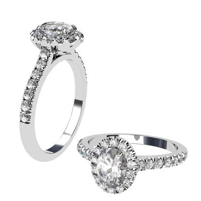 Two Carat Oval Diamond Halo Engagement Ring 1 2