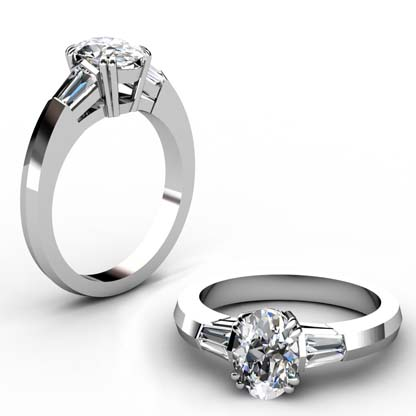 Two Carat Oval Diamond Three Stone Engagement Ring with Knife s Edge Band 1