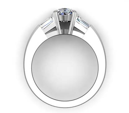 Two Carat Oval Diamond Three Stone Engagement Ring with Knife s Edge Band 3