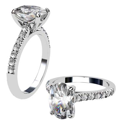 Two Carat Oval Shaped Diamond Engagement Ring with Diamond Band 1 2