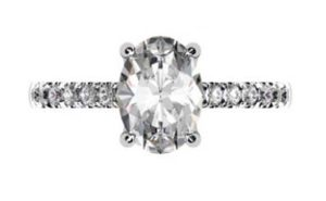 Two Carat Oval Shaped Diamond Engagement Ring with Diamond Band 2 2