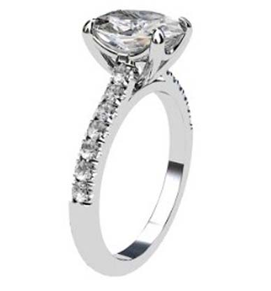 Two Carat Oval Shaped Diamond Engagement Ring with Diamond Band 4 2