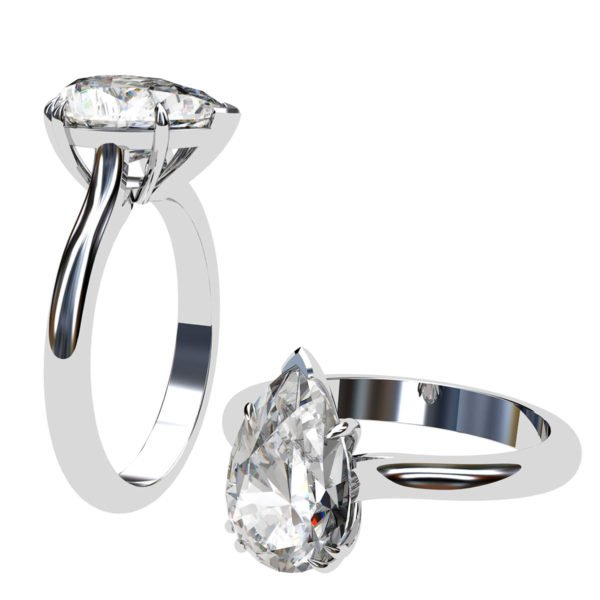 Two Carat Pear Shape Diamond Solitaire Engagement Ring 1 2