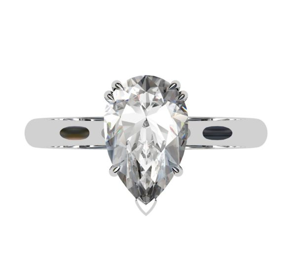 Two Carat Pear Shape Diamond Solitaire Engagement Ring 2 2