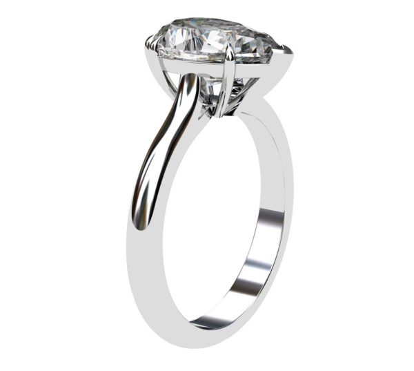 Two Carat Pear Shape Diamond Solitaire Engagement Ring 4 2