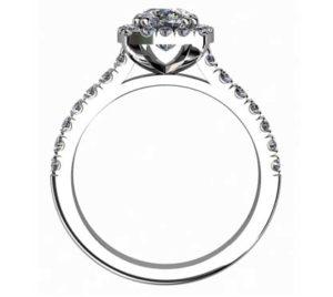 Two Carat Rectangle Cushion Cut Diamond Halo Engagement Ring 3 2