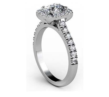 Two Carat Rectangle Cushion Cut Diamond Halo Engagement Ring 4 2