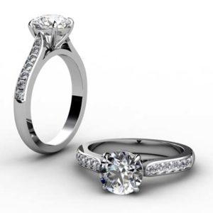Two Carat Round Brilliant Cut Diamond Engagement Ring with Side Stones 1 2
