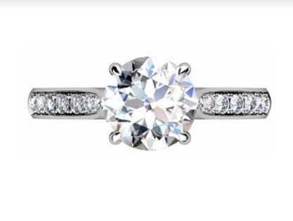 Two Carat Round Brilliant Cut Diamond Engagement Ring with Side Stones 2 2