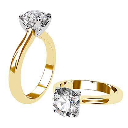 Two Tone Round Solitaire Diamond Ring 1 2