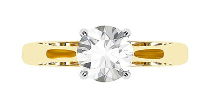 Two Tone Round Solitaire Diamond Ring 2 2