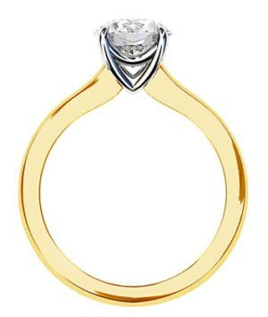 Two Tone Round Solitaire Diamond Ring 3 2