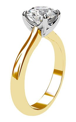 Two Tone Round Solitaire Diamond Ring 4 2