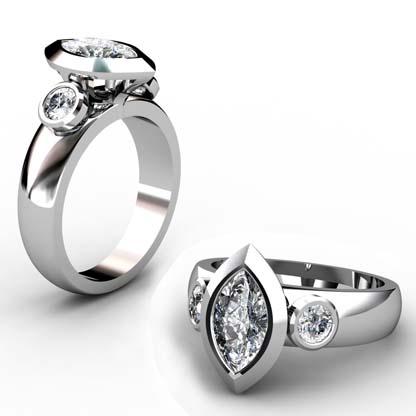 Unique Marquise Diamond Beveled Bezel Set Engagement Ring 1 2